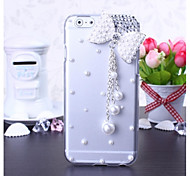 DIY Pearl Bow Tassles with Rhinestone Pattern Plastic Hard Cover for iPhone 6
