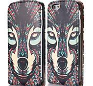 frais motif tribal de renard de style magnétique vertical étui en cuir flip pour iphone 6