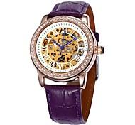 fascia cassa in oro in pelle quadrante cave di diamanti orologio da polso automatico meccanico delle donne (colori assortiti)