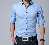 Men's Fashion Long Sleeves Pure Colored Shirt