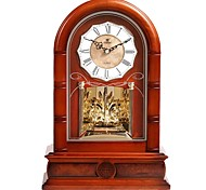 "POWER™ 15""H Elegant European Retro Style Solid Wood Border Crystalline Pendulum Music Super Mute Tabletop Clock"