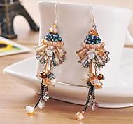 I FREE®Women's Fashion Handmade Tassels Titanium Steel And Silver Drop Earrings 2 pcs (1 pair)