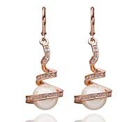 mode perle goutte rose en or rose boucles d'oreilles en plaqué or (or rose) (1 paire)