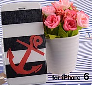 Stripe Ship Anchors Pattern Leather Full Body Cases with Stand and Slot for iPhone 6