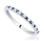 Classic Women's 2-tone Sapphire Blue and Clear CZ 925 Sterling Silver Band Ring (1pc)