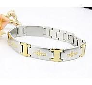 Men's Fashion Personality Titanium Steel Silver Cross Bracelets