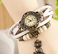 rodada relógio de couro com ligação de banda quartzo braceiet analógica das mulheres coruja Coway (cores sortidas)