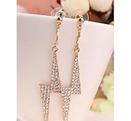 Fashion Korea Long Shining Imitation Diamond 18K Gold Plated Stud Earrings for Women in Jewelry