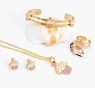 Gold Plated Purple & Blue necklace Bangle Bracelet Set for children kids jewlery