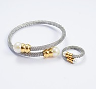 Fashion Silver Pearl Bracelet Tip Titanium Steel Bangles and Rings Jewelry Sets
