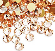 3mm Champagne Acrylic Flatback Faceted Round Sticky Rhinestones Gems(100 pcs)