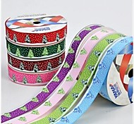 3/8 Inch Christmas Tree and  Beautiful Snow  Pattern Rib Ribbon Printing Ribbon- 25 Yards Per Roll (More Colors)