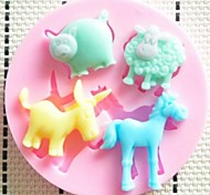 Pig Sheep donkey and Horse Fondant Cake Chocolate Resin Clay Candy Silicone Mold, L7.1cm*W7.1cm*H0.9cm