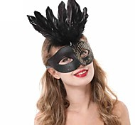 Black Feather Half Face PS Halloween Party Mask