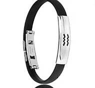 Men's Fashion Personality Titanium Steel Silicone Twelve Constellation Aquarius Bracelets