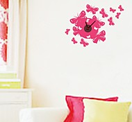 ZOOYOO® Electronic battery clock DIY red butterfly shape wall clock wall sticker home decor for room