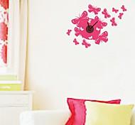 zooyoo® elektronischen Batterie Uhr diy roten Schmetterlingsform Wanduhr Wandaufkleberausgangsdekor für Zimmer