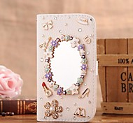 Diamond Luxury Make-up Mirror PU Leather Full Body Case with Stand and Card Slot for Samsung Galaxy S5 I9600