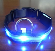 Adjustable Fashionable Flashing Nylon LED Light Pet Dog Collar Safety Collar for Christmas (DD-WT, Blue, M)