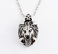 Vintage Domineering Men's Lion Head Titanium Steel Pendant Necklace