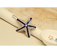 Fashion Korean Bule Gold Plated Star Hairpins Jewelry for Women in Jewelry