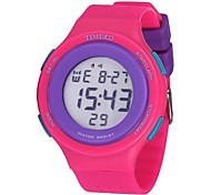 Time100 Children's Round Dial Silicone Strap Multifunctional Casual Sport Waterproof Digital Watch Assorted Colors