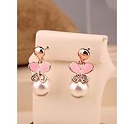 Fashion Cute Pink Bowknot Pearl Alloy Stud Earrings for Women in Jewelry