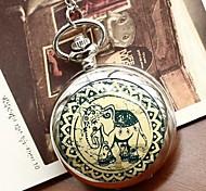 Women's Fashion Large Elephant Enamel Quartz Movement Necklace Watch