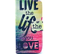 """Live The Life You Love"" Words Pattern PU Leather Full Body Case for iPhone 5C"