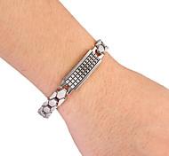 Fashion Retangle Men's Silver Alloy Tennis Bracelet(1 Pc)