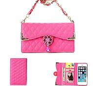 Flowers And Diamond Alloy Necklace Wrist Strap Full Body Leather Wallet Pouch Case for iPhone 5C