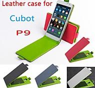 vendita calda custodia in pelle cuoio dell'unità di elaborazione di vibrazione colorata 100% per cubot p9 su e giù per smartphone a 4 colori