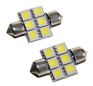 6*5050 SMD LED 31mm Car Interior Dome Festoon White Bulb Light (DC12V 2PCS)