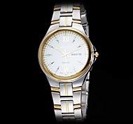 Herren-Luxus-Goldgehäuse silber Stahlband-Quarz-Armbanduhr (farbig sortiert)