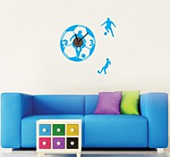 ZOOYOO® DIY blue color Electronic battery timekeeper wall clock with rainning man wall sticker home decor for room