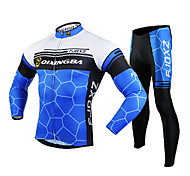 FJQXZ Men's Long Sleeve Cycling Jersey + Tights 3D Slim Cut Geometry Wearable Cycling Suit Black/Blue/White