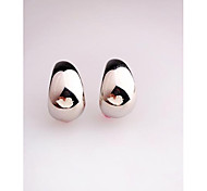Korea Fashion White Smooth Alloy Stud Earrings for Women in Jewelry