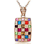 Lucky Doll Women's All Matching Gemstone & Crystal Cubic Zirconia Colorful square Necklace