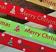 3/8 Inch Merry Christmas and  Beautiful Snow  Pattern Rib Ribbon Printing Ribbon- 25 Yards Per Roll (More Colors)
