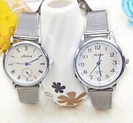Couple's Fashion Pure Round Dial Steel Band Quartz Couple's Watch