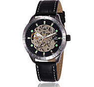 SHENHUA Men's Skeleton Leather Mechanical Watch Cool Watch Unique Watch