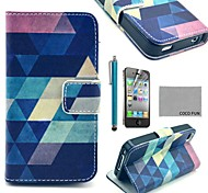 COCO FUN® Blue Puzzle PU Leather Full Body Case with Screen Protector, Stand and Stylus for iPhone 4/4S