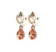 Fashion Korea Champagne Crystal Stud Earrings for Women in Jewelry