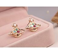 Fashion Korea Opal Imitation Diamond 18K Gold Plated Stud Earrings for Women in Jewelry