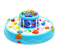 Funny Turntable Game Fishing Game Magnetic Fish Toy With Music Double-deck(Assorted Color)