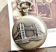 Women's Retro Large London Bridge Quartz Movement Necklace Watch