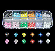60PCS 12 Colours Anagallis ResinNail Art Decoration