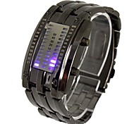 Men's LED Three Rows of Lights Steel Band Lava Table Wrist Watch(Assorted Colors) Cool Watch Unique Watch