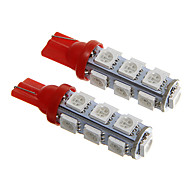 T10 2.5W 250LM 13×5050 SMD LED Red Light for Car Dashboard / Door / Trunk Lamps (DC12V  2Pcs)