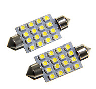 16*3528 SMD LED 42mm Car Interior Dome Festoon White Bulb Light (DC12V 2PCS)